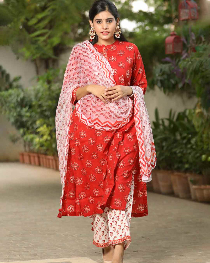 RED & WHITE HANDBLOCK SUIT SET