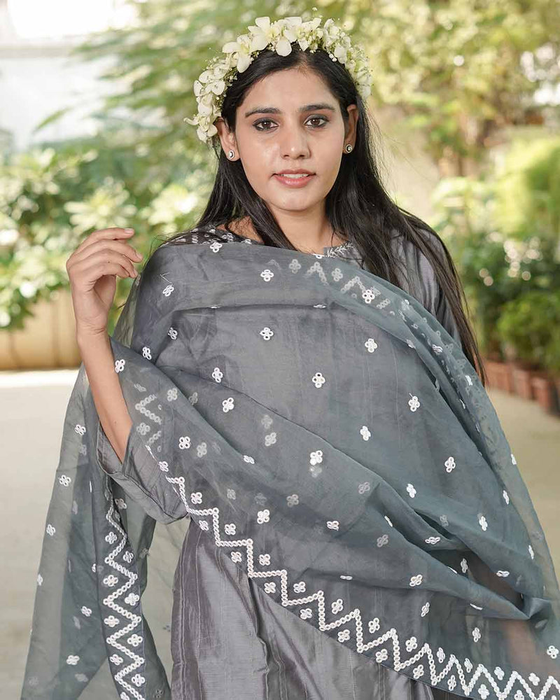 GREY SUIT SET WITH ORGANZA DUPATTA