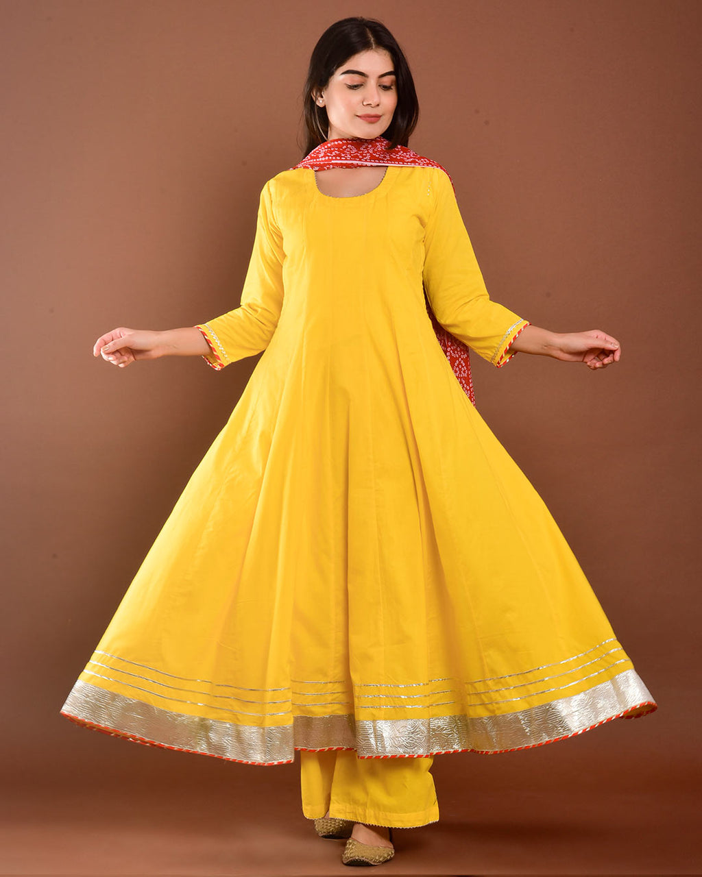 YELLOW ANARKALI SUIT SET