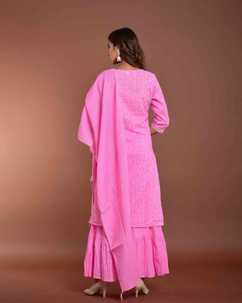 LIGHT PINK BANDHEJ SUIT SET