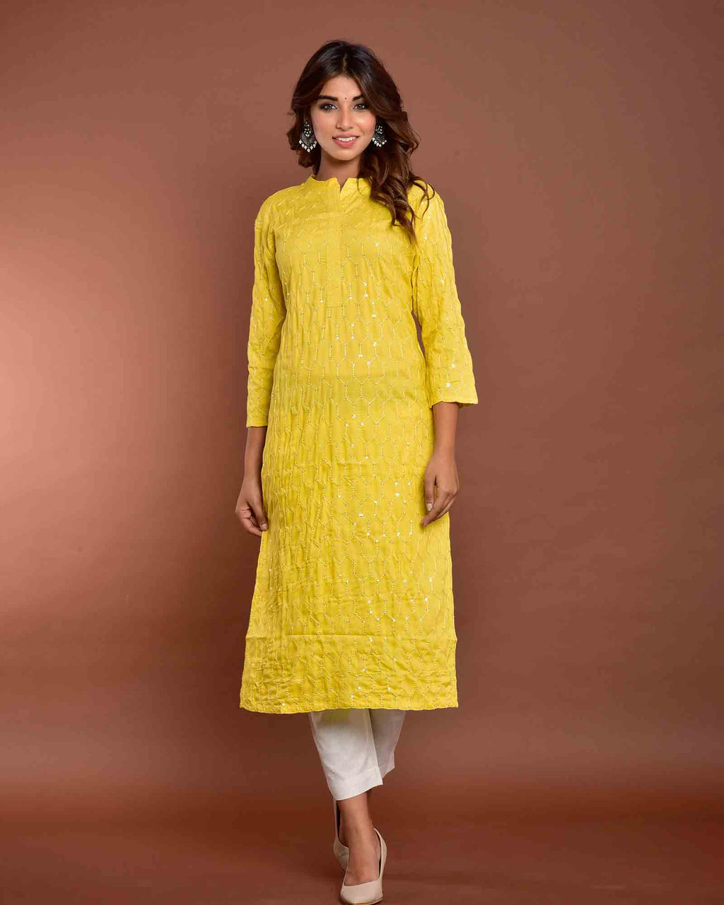 SHIMMERY YELLOW KURTA