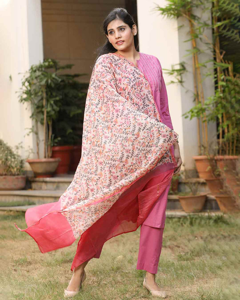 PINK SUIT WITH CHANDERI DUPATTA