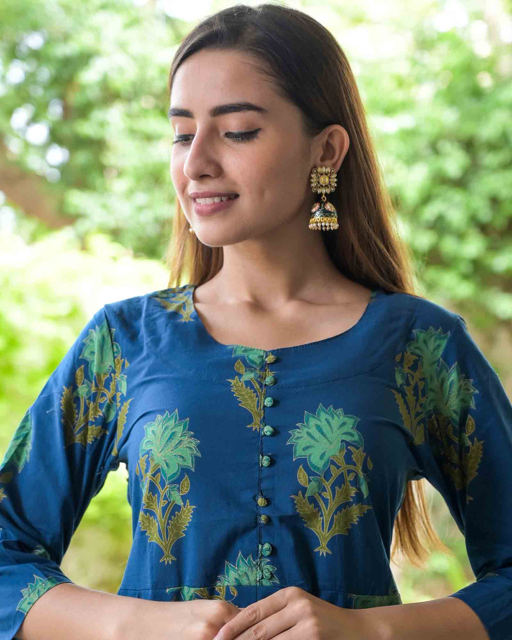 GREEN MEENAKARI FLOWER EARRINGS