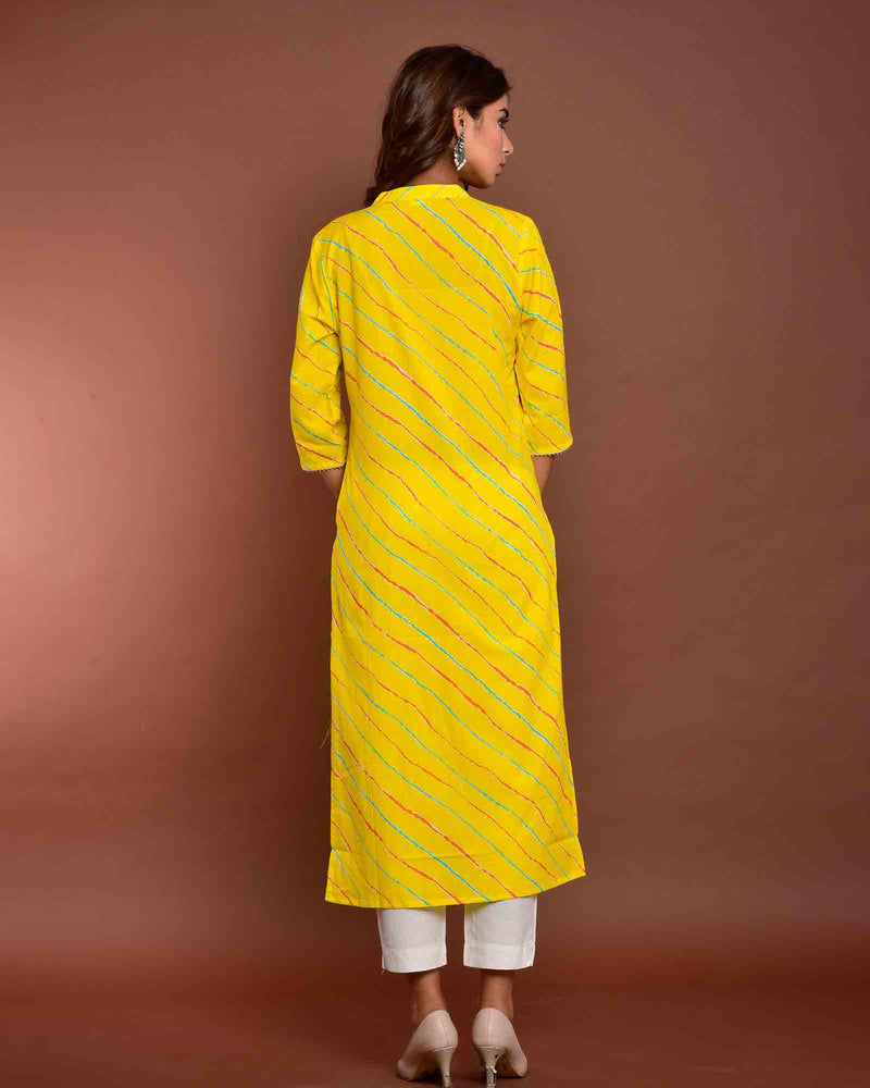 YELLOW LEHERIYA KURTA