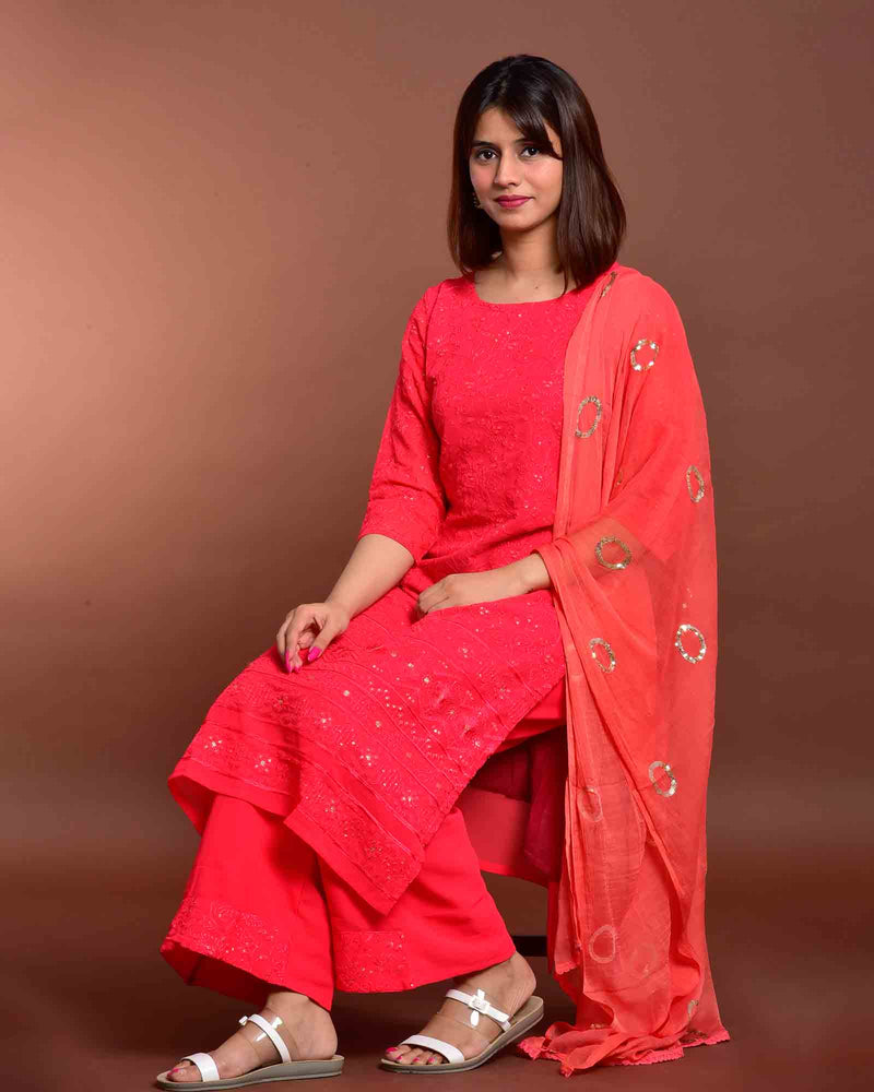 IMPERIAL RED EMBROIDERED SUIT SET