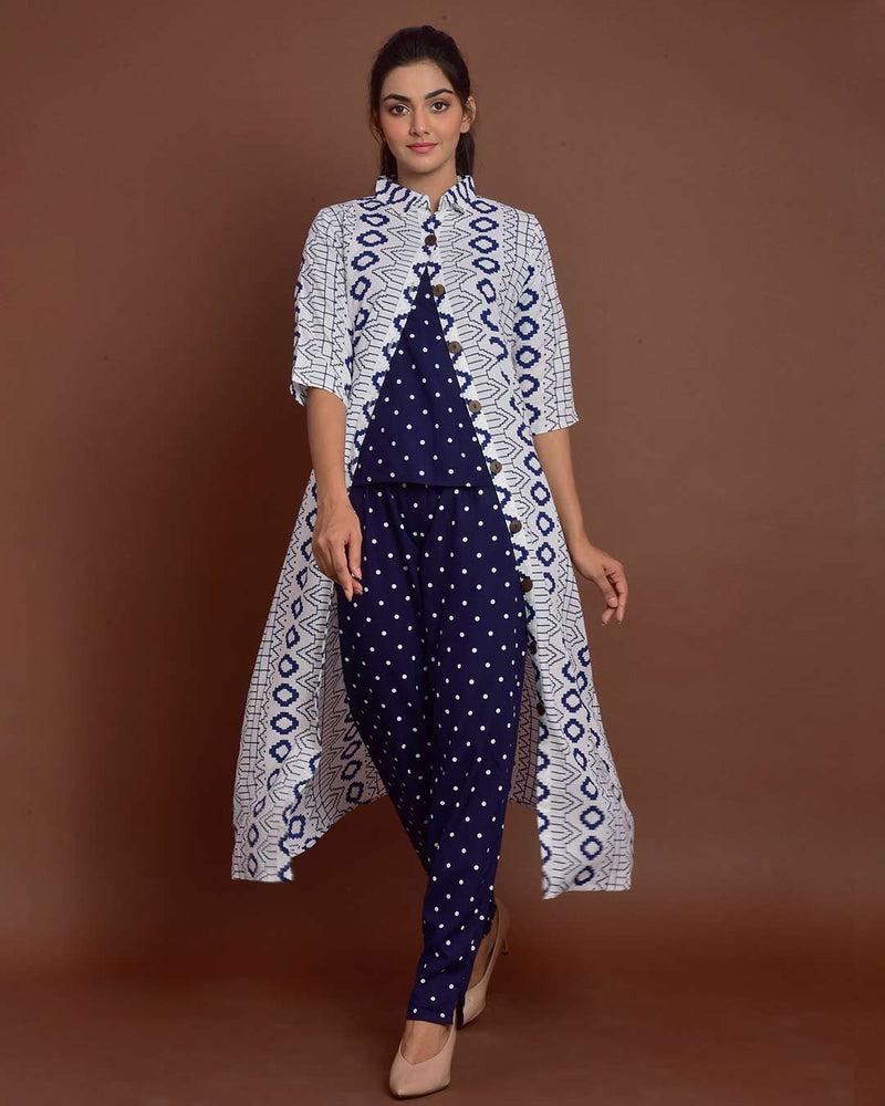 POLKA DOT PANT SET WITH SHRUG