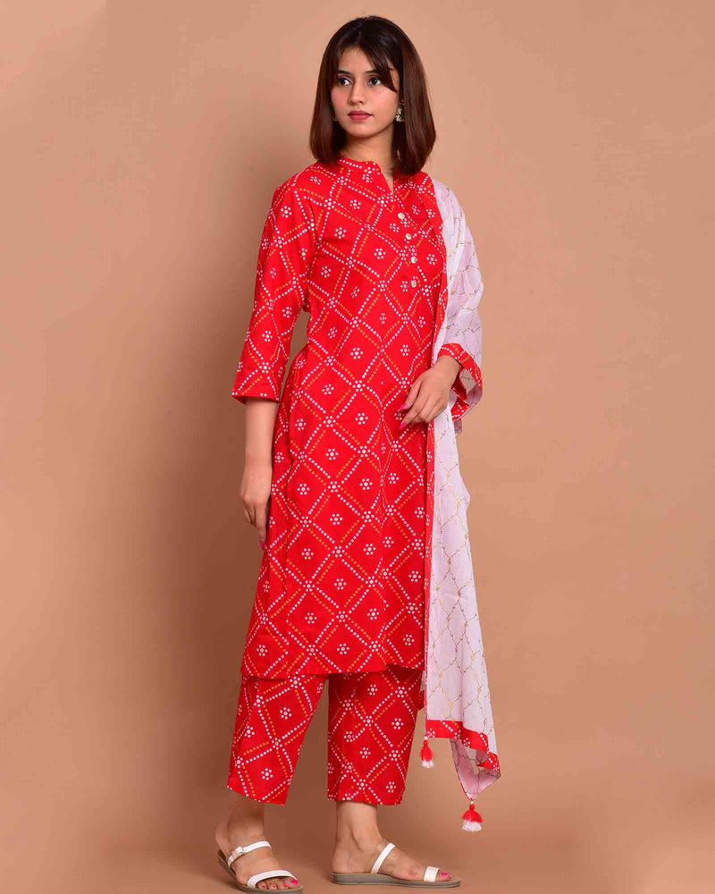 RED & WHITE CIRCLE SUIT SET