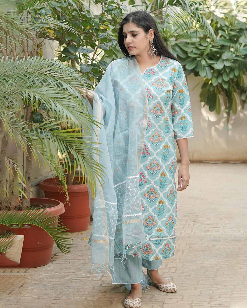 AQUA BLUE SUIT WITH KOTA DORIA DUPATTA