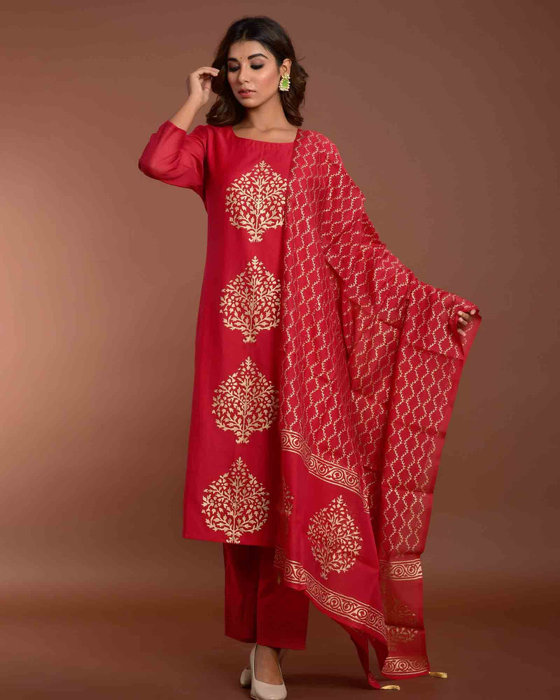 RED CHANDERI SILK HANDBLOCK SET