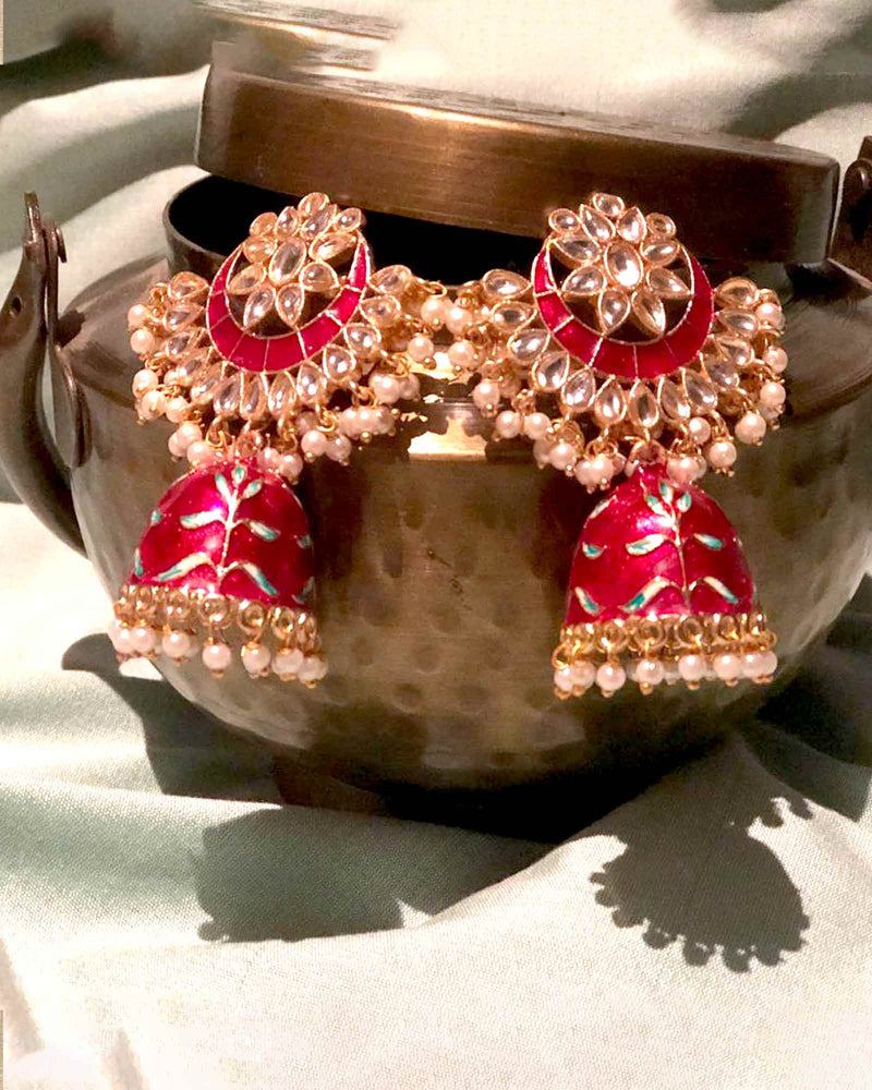 RED JHUMKA DROP PEARL EARRINGS