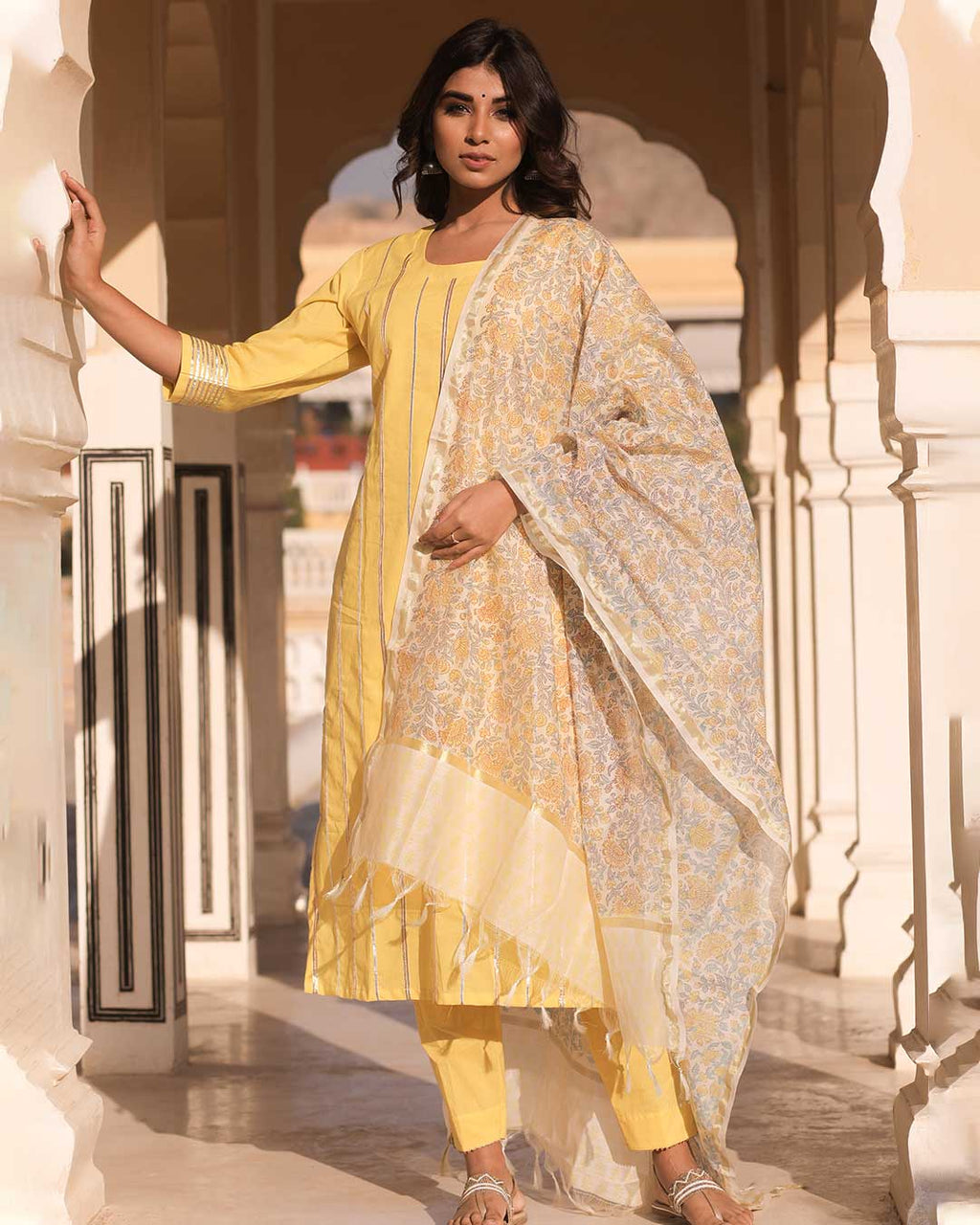 YELLOW SUIT WITH CHANDERI DUPATTA