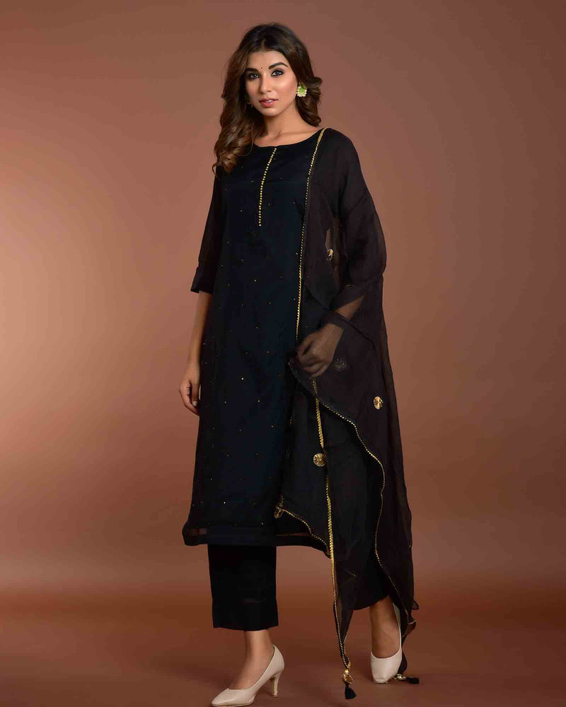 BLACK CHANDERI SUIT SET