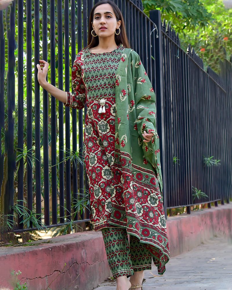 MAROON & GREEN SUIT SET