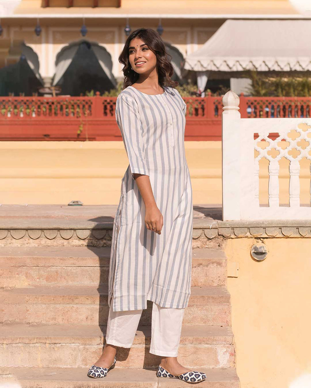 BLUE & WHITE STRIPED KURTA