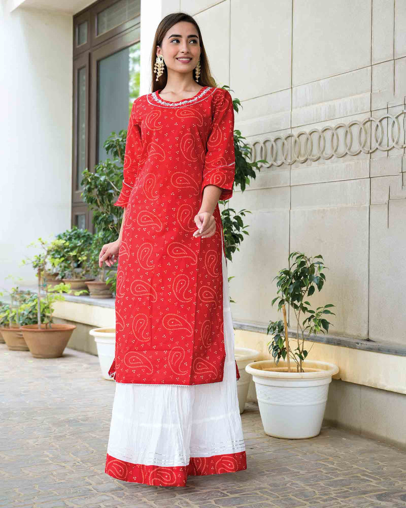 RED BANDHEJ SKIRT SET