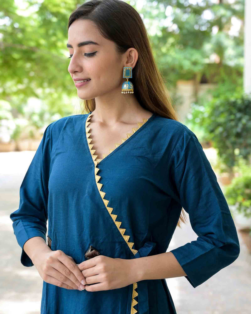 LIGHT BLUE MEENAKARI EARRINGS