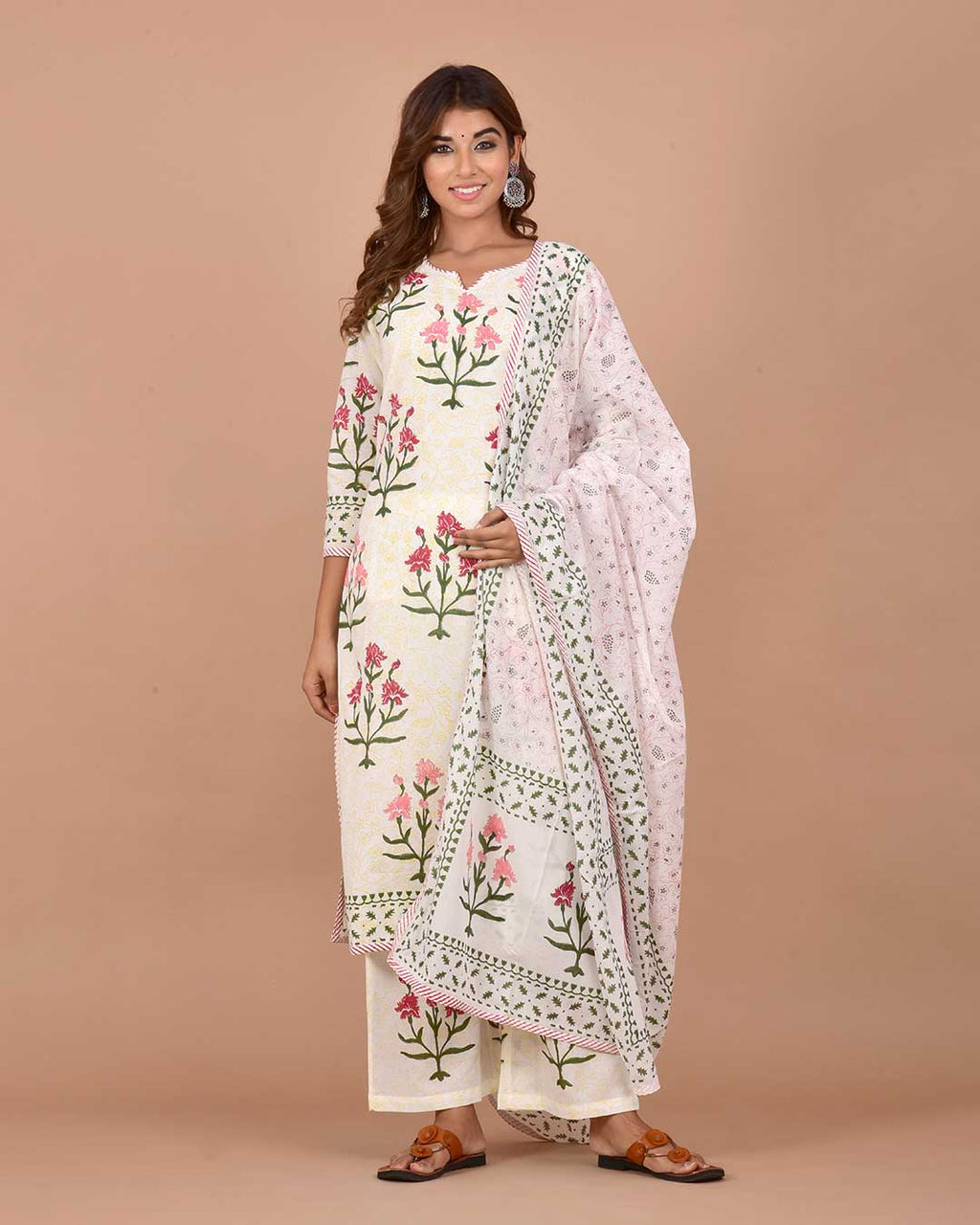 WHITE HANDBLOCK FLOWER SUIT SET