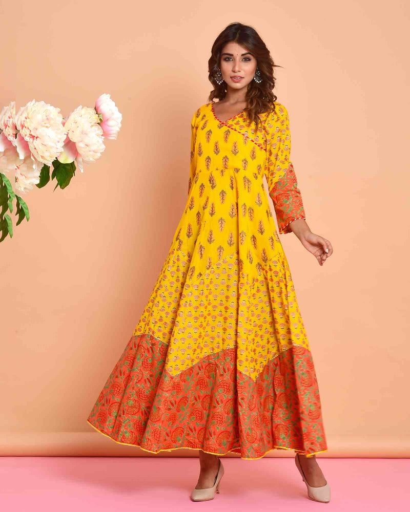 YELLOW & ORANGE LONG GOWN