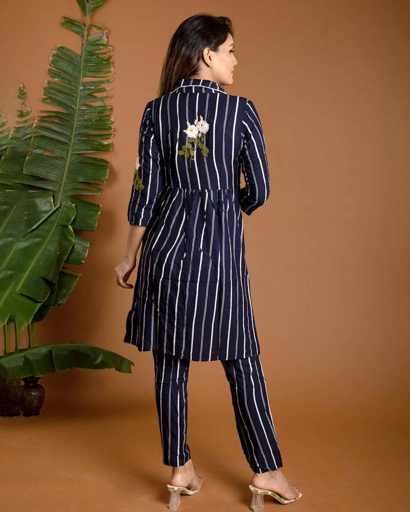 BLUE AND WHITE STRIPED PANT SET
