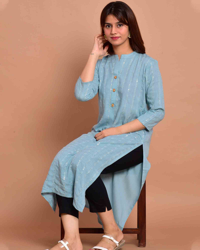 LIGHT BLUE STRAIGHT KURTA