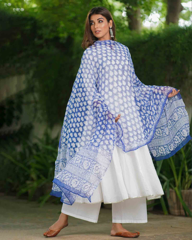 WHITE ANARKALI SUIT SET