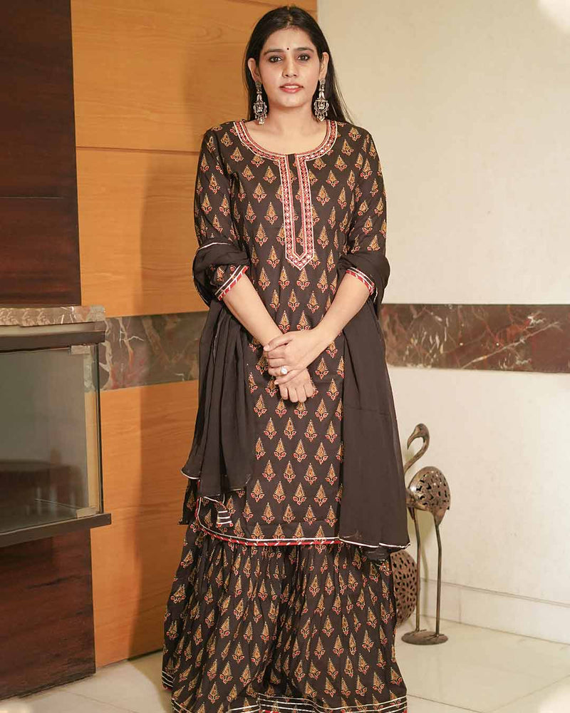BLACK BUTTA PRINT GHARARA SET