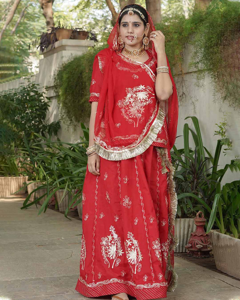 ROYAL RED HANDMADE RAJPUTI POSHAK