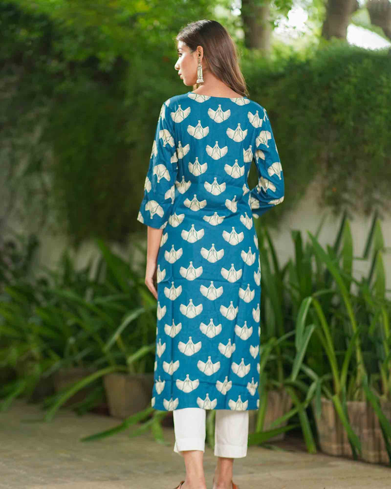BLUE STRAIGHT KURTA