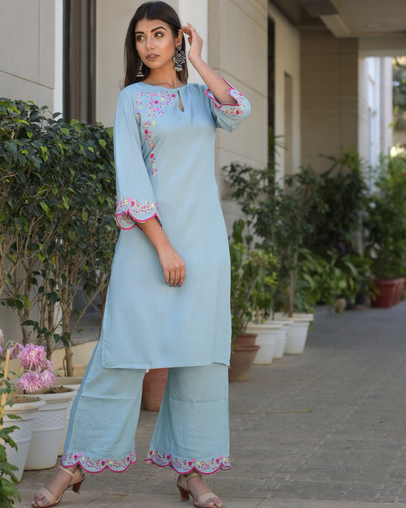 LIGHT BLUE EMBROIDERED PALAZZO SET
