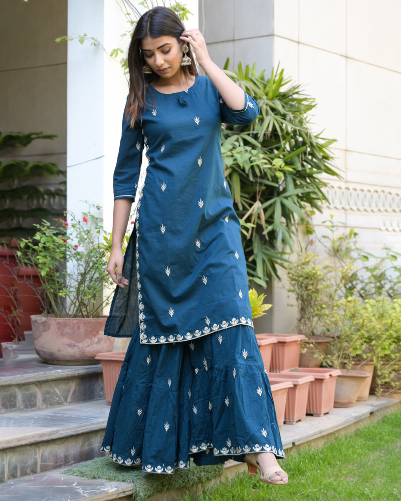 INDIGO EMBROIDERED SHARARA SET