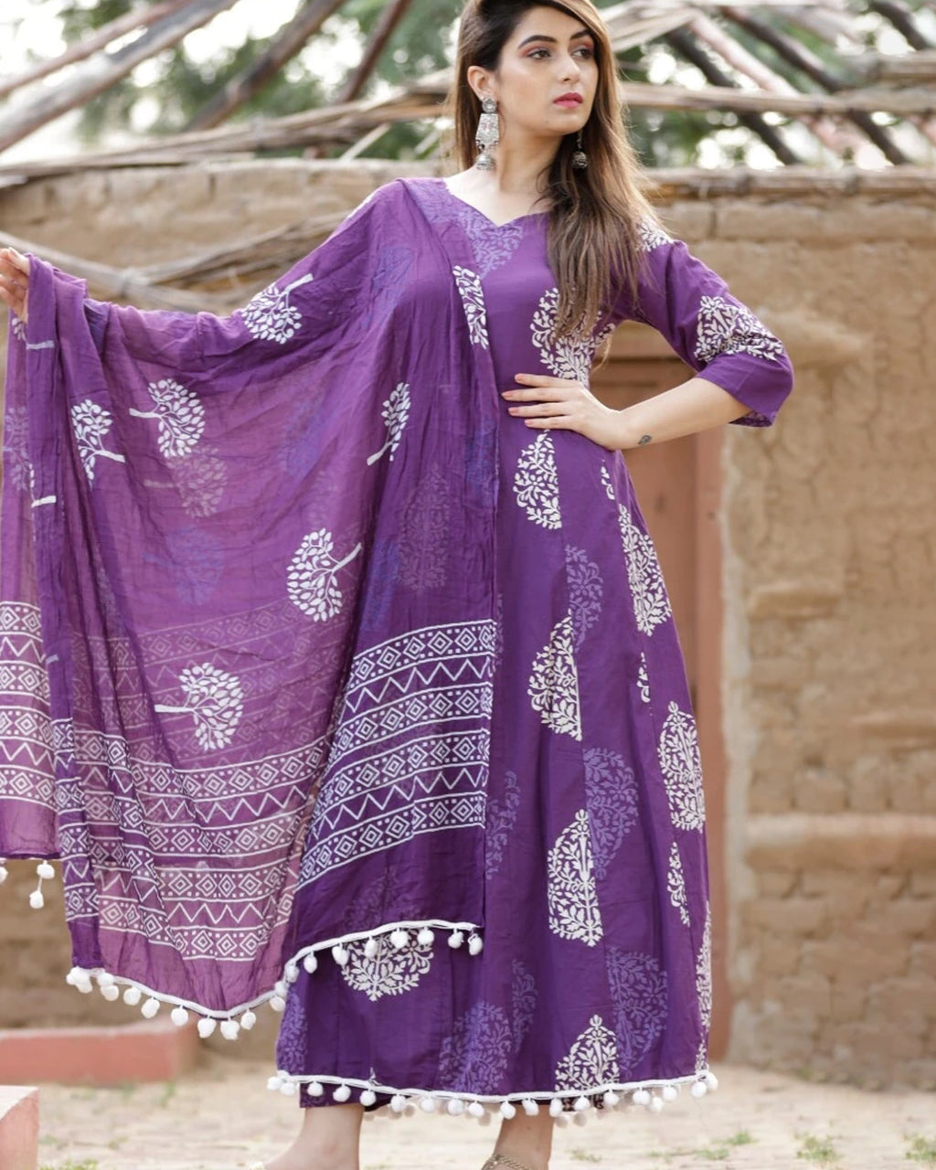 PURPLE ANARKALI SUIT SET