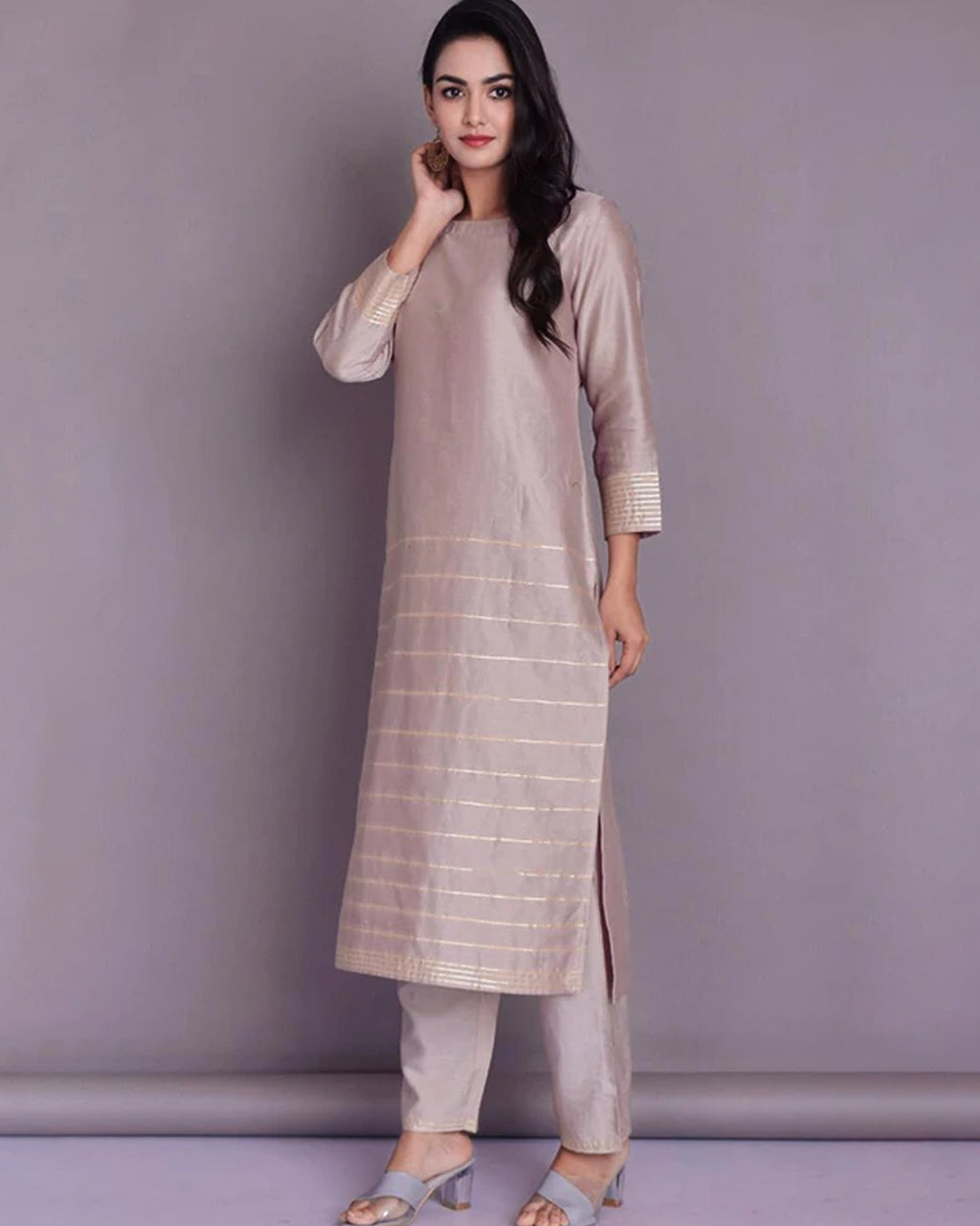 SILK CHANDERI CLASSIC PANT SET