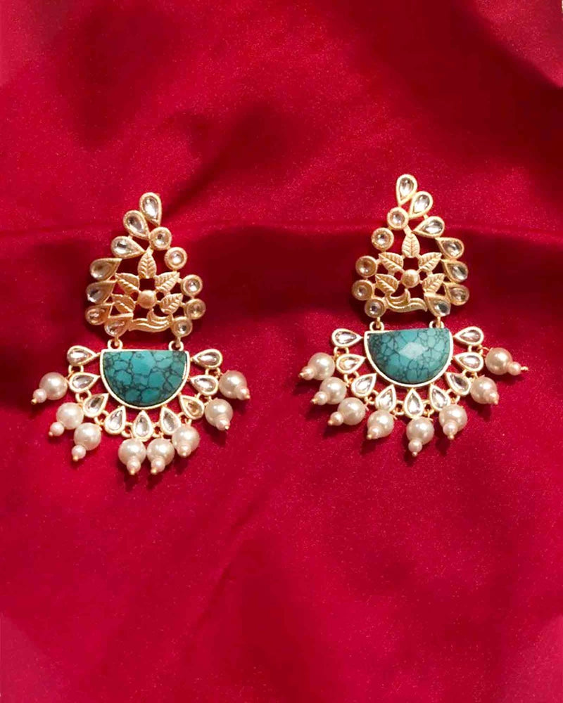 TURQUOISE GOLD TONE EARRINGS
