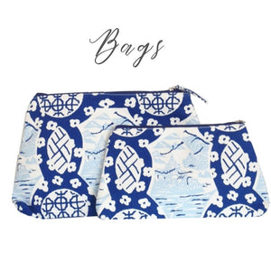 Blue and white bags and totes