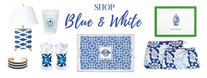 blue and white gifts and decor