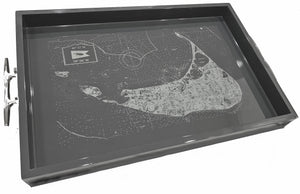 Nantucket tray with coordinate map -Charcoal Starboard Planks