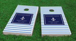 Custom Cornhole Boards -personalized anchor blue The Nantucket Collection