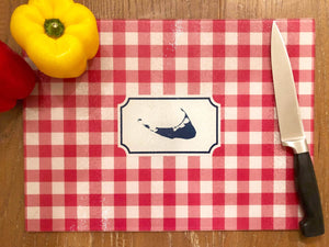 Raspberry Pink Gingham Nantucket Island Cutting Board Boatman Geller