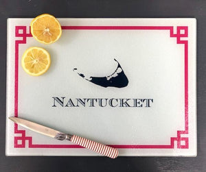 Nantucket Island Cutting Board-Raspberry or Red Greek Key Boatman Geller