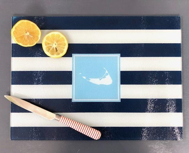 Navy Striped Nantucket Island Cutting Board Boatman Geller