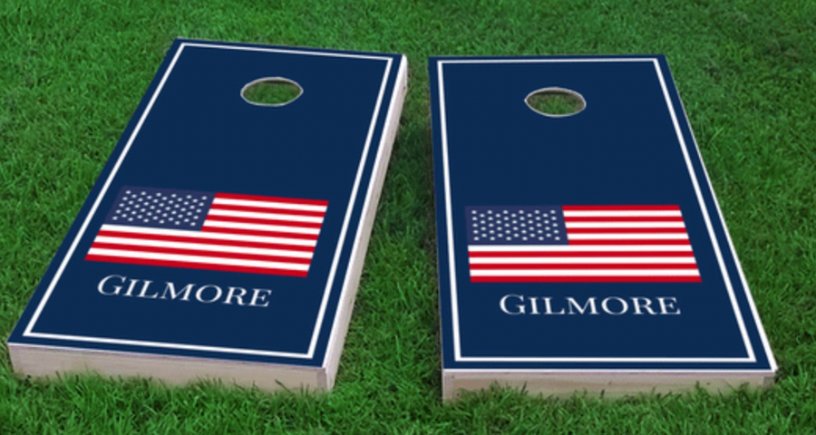 Personalized Patriotic American Flag Cornhole Board Set
