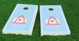 Preppy Beach Tote Custom Cornhole Board Set