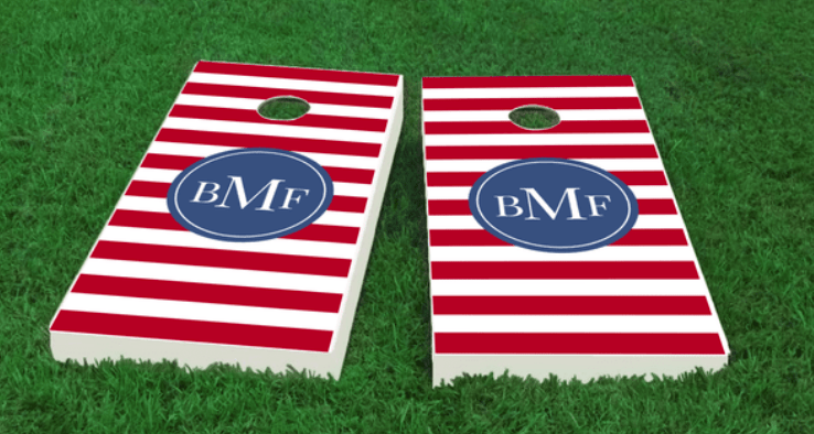 Monogrammed Cornhole Boards-red stripe The Nantucket Collection