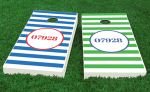 Custom Cornhole Boards with zip code The Nantucket Collection