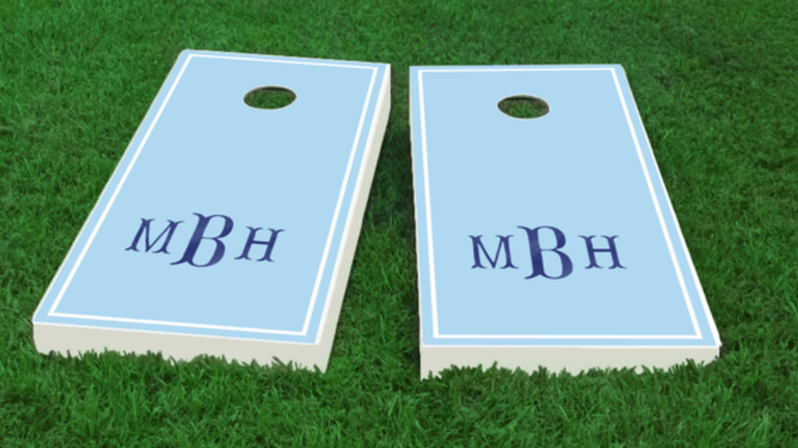 Blue Fishtail Monogram Cornhole Board Set