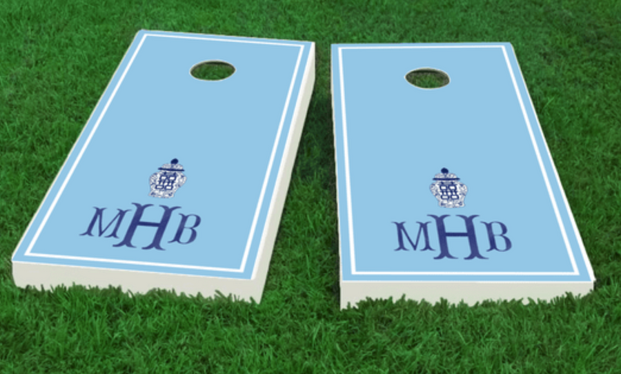 Monogram Chinoiserie Cornhole Board Set