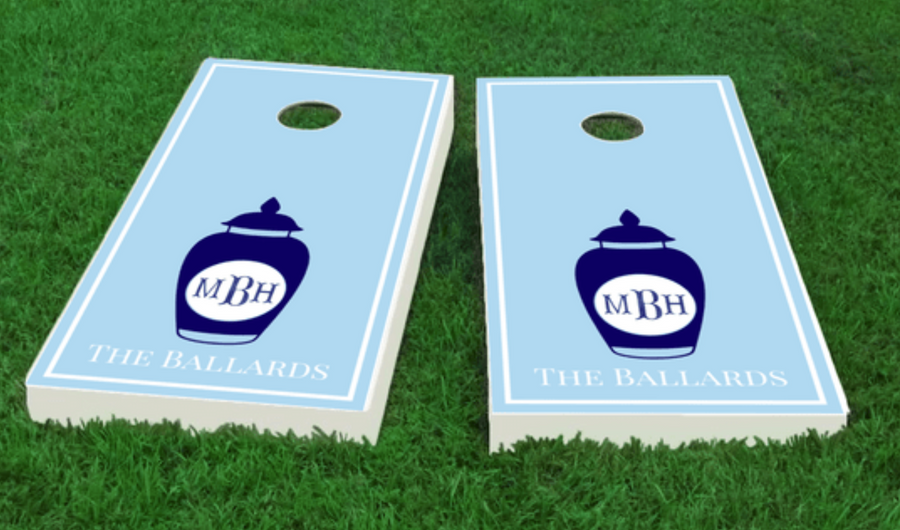 Monogram Ginger Jar Cornhole Board Set