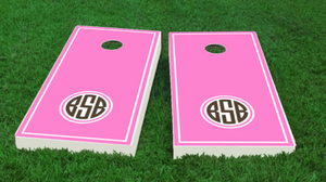 Monogrammed Cornhole Board Set -pink+brown