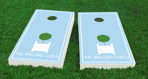 Topiary Cornhole Board Set-light blue