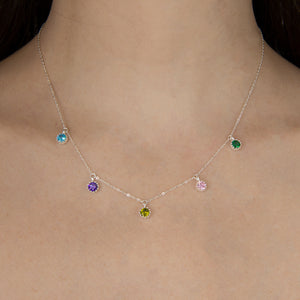 Wide Birthstone Necklace
